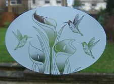 """Frosted Look HORIZONTAL LILY & HUMMINGBIRD 10.5""""x16"""" / 27x41cm"""