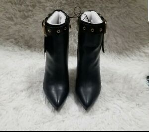 Womens Black Leather Ankle Boots size 8 high heels belt design