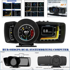 Car HUD Head-up Display OBD 2 GPS Dual System Driving Computer Modified LCD Code