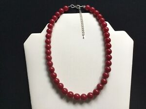 Women's Short Burgundy Bead Necklace