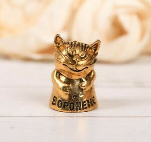 Thimble FUNNY CAT Kitten Gold Tone Solid Brass Metal Russian Collection