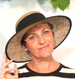Damen Hut Seeberger Naturstroh Seegrashut Farbauswahl Urlaub Garten Sonnenschutz