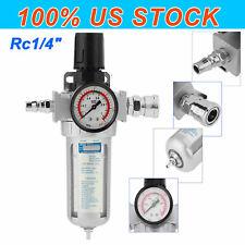 14 In Air Compressor Filter Oil Water Separator Trap Tools With Regulator Gauge