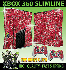 XBOX 360 SLIM RED PAISLEY BANDANA DO RAG STICKER SKIN & 2 X CONTROL PAD SKINS