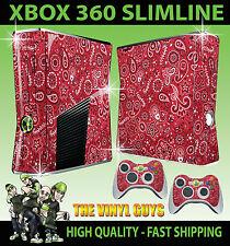 XBOX 360 SLIM RED PAISLEY BANDANA DO RAG STICKER SKIN & 2 X CONTROL PAD SKINS