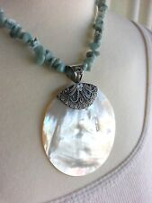 MERAV Mother of Pearl MOP & Blue Amazonite Sterling Silver Necklace 18 inches
