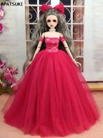 Hot Pink Fashion Dress & Veil Wedding Dress For 1/4 Doll Clothes Gown Party Toy