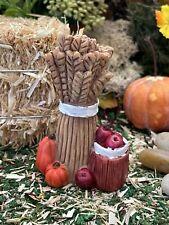Dollhouse Fairy Garden Accessories Fall Harvest Haystack Wheat w/ Apples Pumpkin