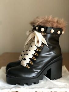Stunning Authentic Gucci Trip Black Leather Pearl Fur Combat Boots EU 38 US 8