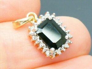 9ct Gold Sapphire & Diamond Hallmarked Cluster Pendant