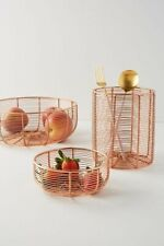 Anthropologie Copper Wired Fruit Bowl & Utensil Jar...Brand New