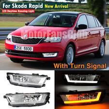LED Daytime Running Light For Skoda Rapid Fog Lamp DRL 2013 - 2015 Turn Signal