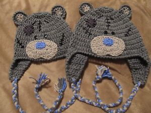 Crochet Gray Bear Blue Nose Hat with Ear Flaps and Ties - Baby to Adult Sizes