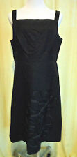 Donna Rico Size 12 Black Summer Linen Sheath Dress Flattering w/Embellishment