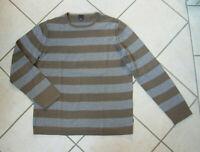 ESPRIT    Pullover    Gr. L    grau & braun gestreift     100% Baumwolle