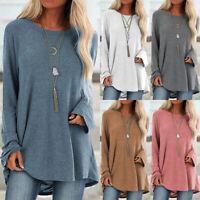 UK Womens Long Sleeve T Shirt Pullover Blouse Ladies Sweatshirt Tee Jumper Tops