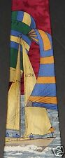 Nautica Tie Silk Italy Ship Boat Ocean Sailing I 298 America's Cup Hand Finished