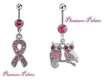 Navel Piercings & Free Belly Button Ring Set/ 2 Breast Cancer Pink Ribbon & Owl