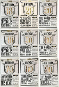 Year You Were Born Newspaper Style Birthday Card 18 21 30 40 50 60 70 80 90