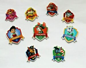 9 Paw Patrol resin flatback embellishments,40mm, ideal  for cakes, crafts & bows