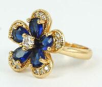 Women's 24 Carat Triple Gold plated Blue & clear Zircon ring jewellery UK Size O