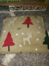 Rudolph Christmas beige 50x60 fleece throw blanket EUC