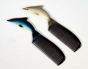 Wholesale Pack Hand Painted Assorted Blue & Gray Dolphin Comb D003D (Set of 12)