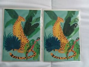 Papyrus Cheetah 3d Leaves Greeting Card Blank Inside 2 count