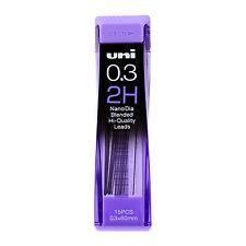 Uni-Ball Nano Lead Mechanical Pencil Lead Refills, 0.3mm, 2H, Pack of 15