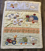 Vintage Lambs And Ivy Farm Animals Baby Crib Blanket Quilt And Wall Hanging