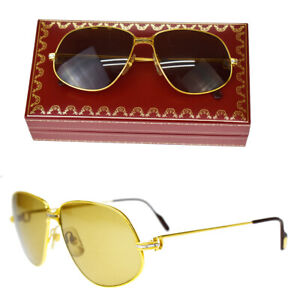 Auth Must de Cartier Vendome Trinity Glasses Eye Wear Plastic Metal Gold 86BQ983