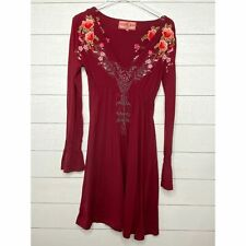 Johnny Was JWLA Burgundy Floral Embroidered Bell Cuff Dress Size M