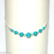 Graduated TURQUOISE Beads ANKLET Sterling Silver 925 Chain and Laser Cut Beads