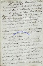 Duke of Wellington signed letter re Jenny Lind's British touring schedule 1848