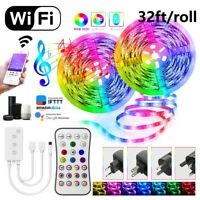65.6FT Flexible LED Strip Lights WIFI 5050 Music Sync 10M/Roll with Remote Kits