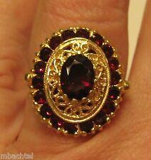 10KT YELLOW GOLD GORGEOUS RED GARNET RING w/ SCROLL DESIGN  7 1/4SZ