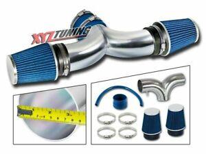 "BLUE 04-07 JEEP Liberty 3.7 V6 Dual Air Intake Kit 3.5"" +Twin Filter"