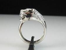 18K Diamond Panther Ring Fine Jewelry Heavy Diamond Eyes 9.32gr Size 8.25