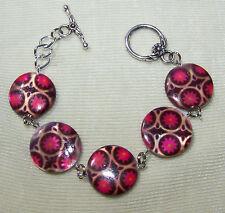 """FLORAL DESIGN SHELL DISC LINK BRACELET  7 1/2""""  pink gold black handmade"""