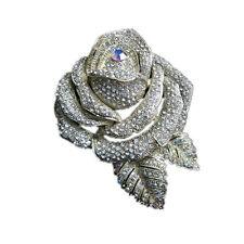 Luxury pieno di Strass di Cristallo Austriaco Rose Spilla Da Sposa br139