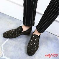 Mens Punk Studded Rivet Casual Dress Slip on Loafers Glitter shoes oxford