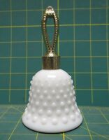 Vintage Hobnail White Milk Glass Bell-Shaped Perfume Jar 5.25 Inches Tall