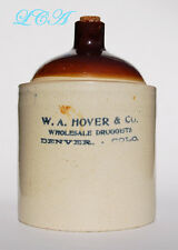 ANTIQUE stoneware W.A. HOVER Co - DENVER COLORADO old west APOTHECARY jug