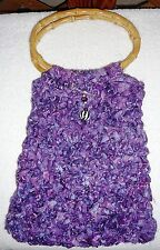 PURSE Or HAND BAG~Purple~Crocheted Fabric~Handcrafted~Magnetic Snap~FREE SHIP