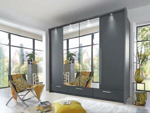 Large grey matt MONA 256cm - 4 bi-folding mirrored doors