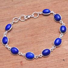 Blue Lapis Gemstone 925 Sterling Silver Statement Handmade Solid Bracelet