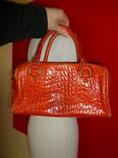 Banana Republic Topaz Red Croc Embossed Leather Holiday 2007 Domed Tote Bag