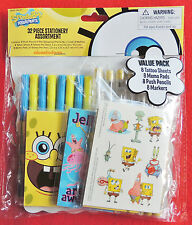 SpongeBob SquarePants 32pc Stationery & Tattoo Set Memo Pads Pencils Markers NIP