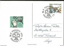 J) 1979 SWEDEN, FOR SWEDISH YOUTH, CHILD AND BIRD, SHALLOP, AIRMAIL, CIRCULATED