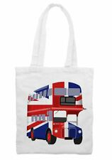London Bus Union Jack Cotton Shoulder Shopping Bag - Buses Gift Present